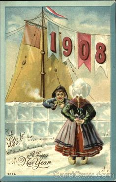 postcard.quenalbertini: Vintage New Year Card, 1908