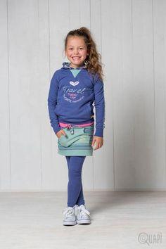 Quapi | Hoodie Fenna Jeans Blue | Skirt Fancy Moss Stripe | Legging Florijn 1 Jeans Blue | Shortsleeve Felissa Sweet