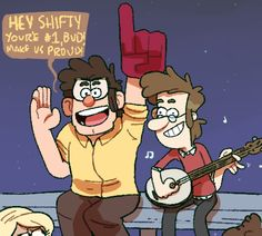 do you think that ford and mcgucket were embarrassing dads? Bucky Barnes Captain America, Pinecest, Mabill, Gravity Falls Comics, Reverse Falls, Billdip, Autumn Art, Funny Comics, Fan Art