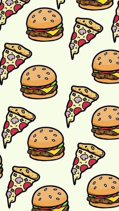 pizza and hamburger wallpaper