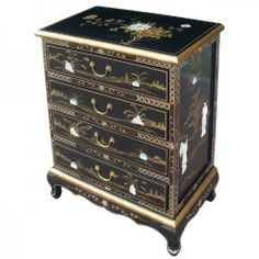 Black lacquer mother of pearl chest of 4 drawers - Buy online - UK stock - Quick delivery Chinese Furniture, Oriental Furniture, Black Platform Bed, Black Chest Of Drawers, Feuille D'or, Oriental Decor, Pearl Design, Asian Design, Antique Cabinets