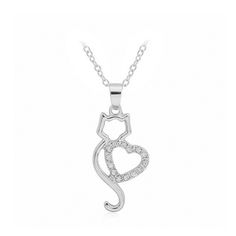 Fashion New Korea Hollow Diamond Cow Necklace Couple heart-shaped Creative Items Give A Gift To A Woman