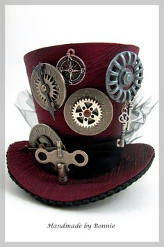 Items similar to Steampunk Mini Top Hat - Burgundy with Clock, Gears, Key, Compass on Etsy Steampunk Accessoires, Mode Steampunk, Steampunk Top Hat, Steampunk Crafts, Steampunk Design, Victorian Steampunk, Steampunk Clothing, Steampunk Fashion, Victorian Hats
