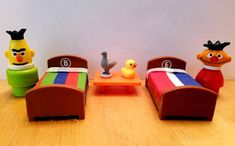 """Mellow Yellow Company on Instagram: """"So how cute is this set? I 💛 it so much, I made one extra for my son. Bert & Ernie have their traditional color Sesame Street Bedding and…"""" Fisher Price Toys, Vintage Fisher Price, Bert & Ernie, Mellow Yellow, Classic Toys, Old Toys, Little People, Vintage Toys"""