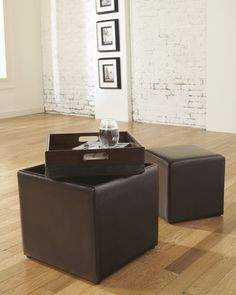 champagne cube coffee table with 4 storage ottomans, only at
