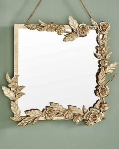 Anthropologie mirror inspiration This is square mirror from Anthropologie that I used for my inspiration. This is the mirror that I used. I taped off the mirror and then used some small clear command clips where I wanted to attach the ga… Mirror With Hooks, My Mirror, Wall Mirrors, Mirror Ideas, Mirror Inspiration, Spiegel Gold, Anthropologie Mirror, Anthropologie Furniture, Anthropologie Jewelry