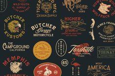Vintage Graphic Design Harrison Font Family (Intro Sale) by ngene on Graphic Design Fonts, Vintage Graphic Design, Vintage Designs, Branding Design, Ex Machina, Badge Design, Vintage Lettering, Typography Logo, Logos