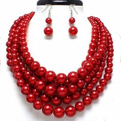 Statement Beaded Layered Strands Glitter Red Pearl Beads Silver Chain Necklace Earrings Set Gift >>> Read more at the image link.
