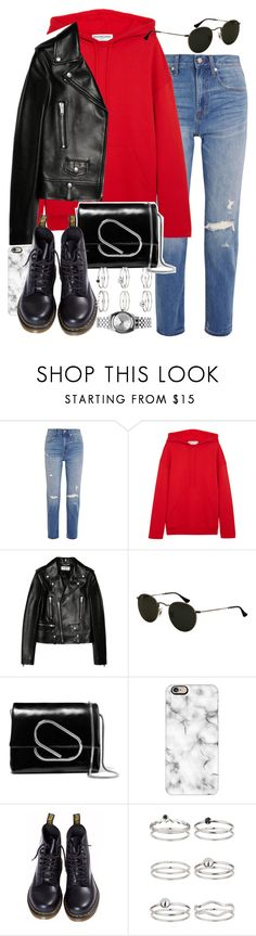 """""""Sin título #4304"""" by hellomissapple ❤ liked on Polyvore featuring Madewell, Balenciaga, Yves Saint Laurent, 3.1 Phillip Lim, Casetify, Dr. Martens, Miss Selfridge and Nixon"""