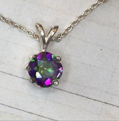 SALE - Mystic Topaz, Colour Shift  Pendant Necklace in Sterling Silver