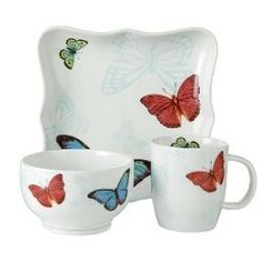 Butterfly Kitchen Plates | Butterfly Porcelain Dining...