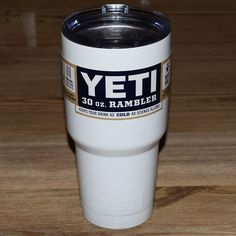 30oz White Double Stainless Steel Rambler + Free Shipping
