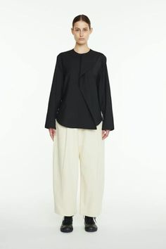 Studio Nicholson-Studio Nicholson Dordini Pants-wide leg trousers-cream trousers-white pants-Idun-St. Paul