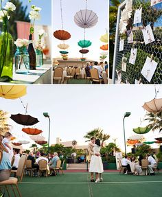 beautiful wedding on a tennis court
