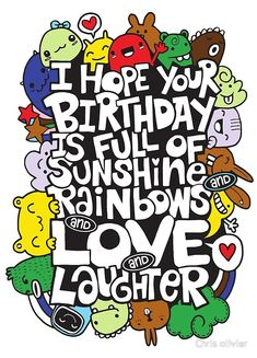 Vector illustration of doodle , I hope your day is full of LOVE ,handwritten lettering. Monster Doodle for your design drawing Alien Images, Stock Photos & Vectors Happy Birthday Doodles, Happy Birthday Drawings, Happy Birthday Illustration, Happy Doodles, Happy Birthday Art, Happy Birthday Greeting Card, Cute Doodles, Happy Birthday Images, Birthday Month