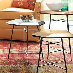 Gem Side Table - Need two. Love the metallic accent for the living room--and the staggered heights! Would probably go with copper and gold. Or silver with my copper kettle on top!!