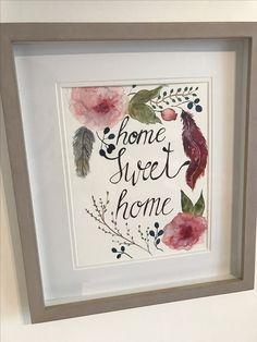 https://m.facebook.com/KunststattKitsch/ Aquarell Boho Spruch Home Sweet Home