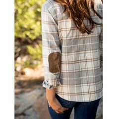 Flannel with corduroy elbow patches.