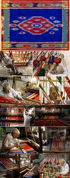 Antique Persian Silk Ikat from Yazd.Pictures Below shows how they make Ikat. Qajar Dynasty 1795-1925 A.D Circa 1900