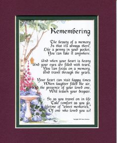 Amazon.com - The Loss Of A Mother Or Father #102, Touching 8x10 Bereavement Poem, Double-matted in Burgundy/ Dark Green. Enhanced with Watercolor Graphics. - Home Decor Gift Packages