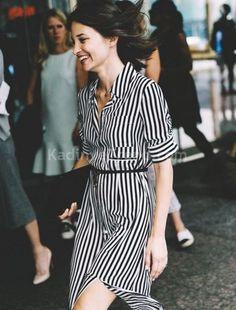 siyah beyaz çizgili gömlek elbiseler | kadın ve trend