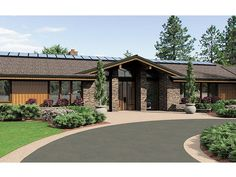 Foto de diseño de casa de un piso en 3D con columnas de piedra, detalles en madera fina y jardín bonito