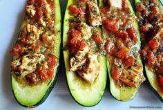 Chicken Pesto Zucchini Boats recipe