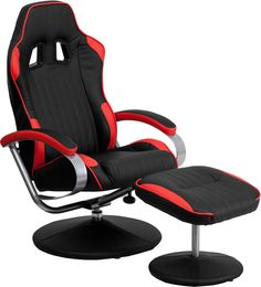 Race Car Seat Style Black & Red Vinyl Home Office Recliner Chair With Ottoman