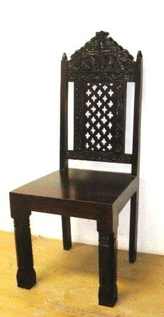 Hand Carved Dining Chair-Jhula- Indian Inspired Furniture- Piddi Chair – Tara Design SET OF 6 $1650