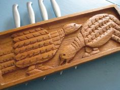 Knife Holder Evelyn Ackerman Carved Wood by SquirrelAwayVintage