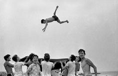 In the mood for SUMMER! Harold Feinstein, Blanket Toss Beach Play, Coney Island, 1955