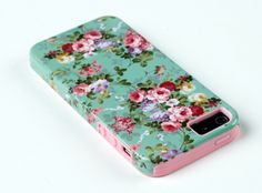 iphone case 1. DandyCase 2in1 Hybrid High Impact Hard Vintage Sea Green Floral Pattern + Pink Silicone Case Cover For Apple iPhone 5S  iPhone 5 (not 5C) + DandyCase Screen Cleaner. #Cases  #iPhone