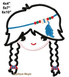 Thanksgiving Indian Girl Machine Applique Design Embroidery Pattern 4x4 5x7 6x10 7x11 INSTANT DOWNLOAD by AppliqueMagic on Etsy Machine Applique Designs, Machine Embroidery Patterns, Different Types Of Fabric, Monster Face, W 6, Indian Girls, Digital Pattern, Pattern Design, Thanksgiving