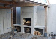 buitenhaard~ Style By Gj *~ Modern Outdoor Fireplace, Outdoor Fireplace Designs, Backyard Fireplace, Diy Fireplace, Concrete Fireplace, Pergola Patio, Backyard Patio, Outdoor Rooms, Outdoor Living