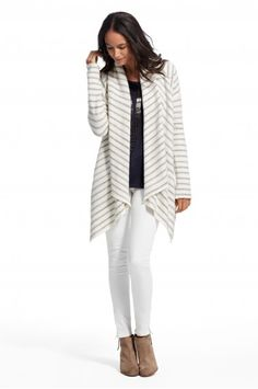 Ercina Cotton Terry Striped Cardigan