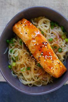 Salmon Teriyaki Noodles | Easy Delicious Recipes