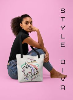 Step out in style with this unique, fashion art tote bag. A perfect choice for light weekend shopping, or a casual accessory to flaunt your inner Diva!..