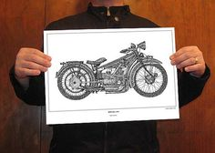 Original Drawing Print art BMW R32 1923  Signed by drawspots, $42.00
