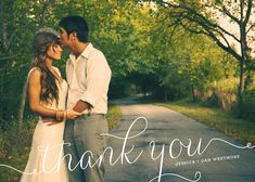"wedding thank you photo card - ""Swirl"" love this look with our photo from the wedding in the background"