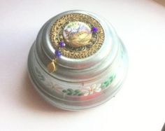 "Aluminum Music Box by Lister Products, Face Powder Box, Music ""White Christmas"" Trinket Box, Cosmetic Powder Box"