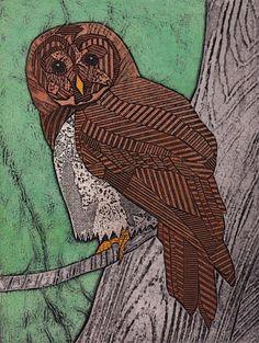 Barred Owl on Green 2 Original Collograph by bonniemurrayart