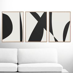Abstract Art Print Set, 3 Black & White Abstract Art, Printable Abstract, instant download, Minimal art, A2 Prints, Gallery wall prints by DanHobdayArt on Etsy