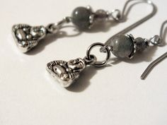 Surgical Steel Blue Flash Labradorite Buddha Earrings by harmony5, $17.00