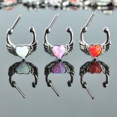 Septum Clicker with Heart Opal  Olivia