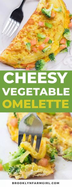 Cheesy Vegetable Omelette is packed with garden fresh vegetables!   This healthy breakfast recipe is easy to make and shows you how to make a perfect omelette step by step! Vegetable Omelette Recipes, Healthy Omelette, Breakfast Omelette, Healthy Breakfast Recipes, Brunch Recipes, Vegetarian Recipes, Healthy Recipes, Egg Recipes, Easy Omelette Recipe
