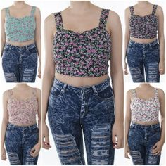 ebclo - Lovely & Cute  Small Floral Print Crop Top Tank Tee Sleeveless Top NEW $9.00 Free Domestic Shipping