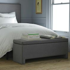 make it for the end of the bed | Nailhead Upholstered Storage Bench | west elm