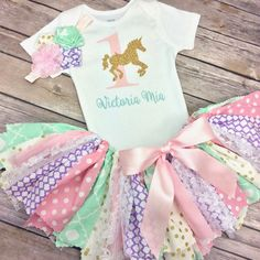 Personalized Pink,  Mint Green / Aqua, Lavender Purple and Gold Glitter Carousel Birthday Outfit - Onesie / Shirt w/ Name, Tutu, & Headband by CamiAndJo on Etsy
