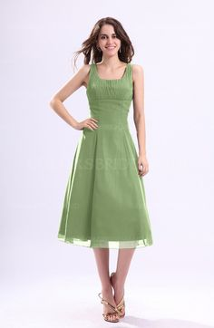 ed67822ba01 Sage Green Simple A-line Chiffon Tea Length Pleated Cocktail Dresses White  Bridesmaid Dresses