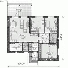Лучший загородный одноэтажный дом № U-117-1K - 1-й этаж Interior Design Layout, Layout Design, Building Exterior, Building Plans, Craftsman Floor Plans, Apartment Floor Plans, Cool Apartments, Apartment Design, Curtain Styles